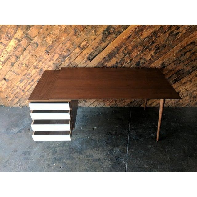 Custom Large Mid Century Style Walnut Desk - Image 9 of 11