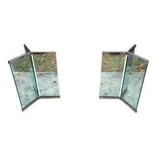 Leon Rosen Chrome & Glass Table Bases - A Pair
