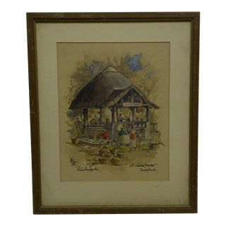 """Native Market - Swaziland"" Framed Print"