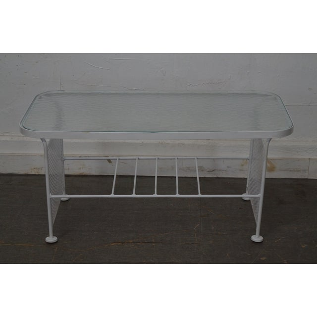Vintage Woodard White Painted Metal Glass Top Patio Coffee Table Chairish
