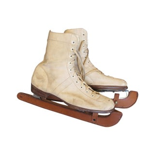 Antique 1930s English Cream Buckskin Ice Skates