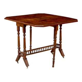 Antique 19th Century Belgian Burlwood and Walnut Drop Leaf Table