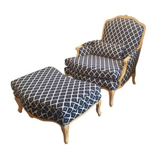 French Bergere Style Chair and Ottoman
