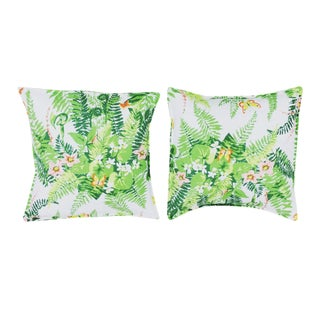 Pillows Made of Vintage Fern Floral Fabric - Pair