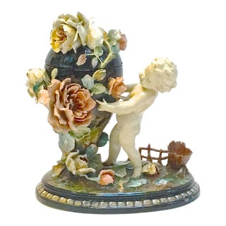 Antique French Barbotine Majolica Cherub & Floral Urn Jar