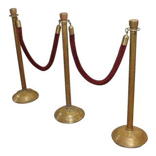 Antique American Theatre Brass Stanchions - 5 Pieces