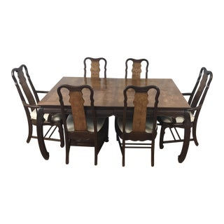 Chinese Chippendale Style Dining Table & Six Chairs- 7 Pieces