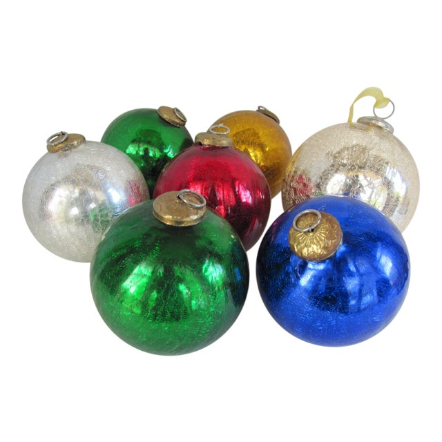 Image of Colored Mercury Glass Ornaments - Set of 7