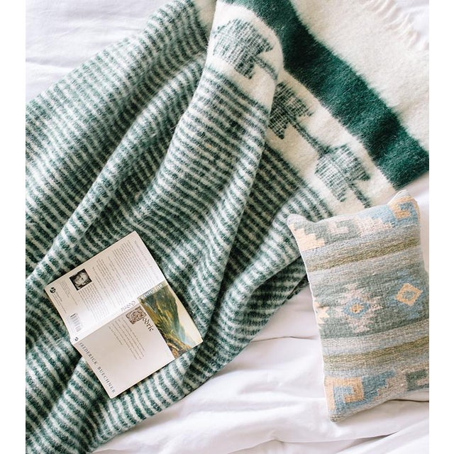 Green and White Wool Blanket - Image 6 of 6