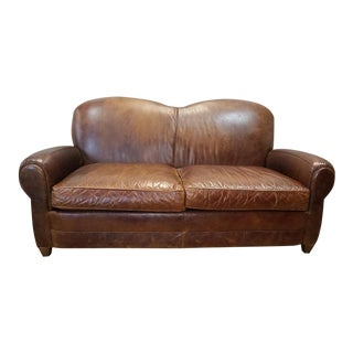 1990s Vintage Mitchell Gold French Art-Deco Style Saddle Brown Leather Loveseat