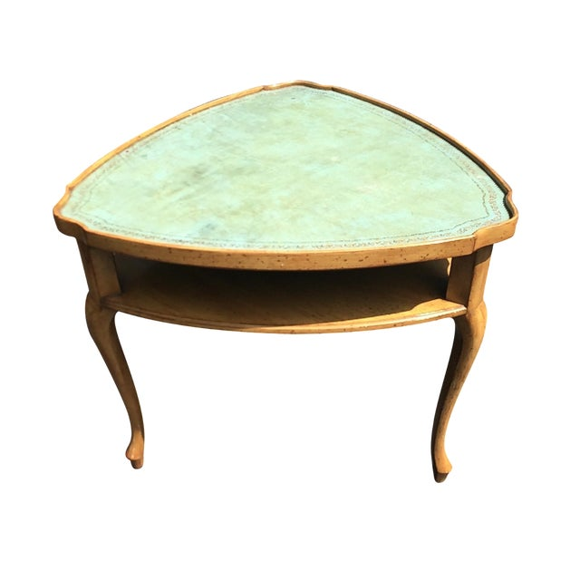 French Provincial Leather Top Side Table - Image 1 of 8