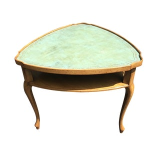 French Provincial Leather Top Side Table