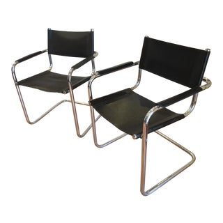 Mart Stam Style Chrome & Vinyl Cantilever Chairs - a Pair