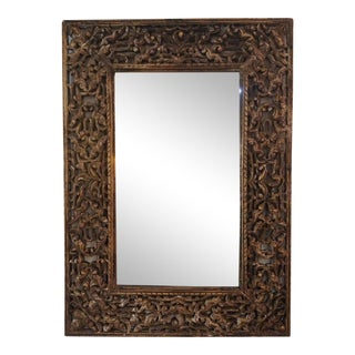Large Ornate Carved Wood Gold Mirror