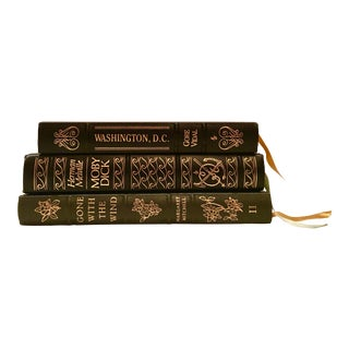 Leather & Gold Bound Classic Books - Set of 3