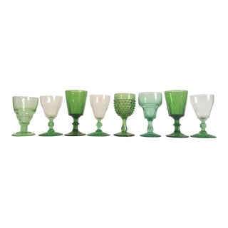 Vintage Mid Century Green Petit Wine Cordial Glasses - Set of 8