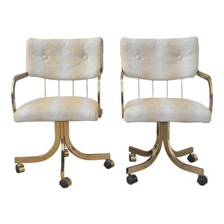 Vintage Brass Desk Chairs - A Pair