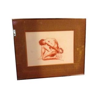 1967 Mid-Century Pastel Nude Study of Man