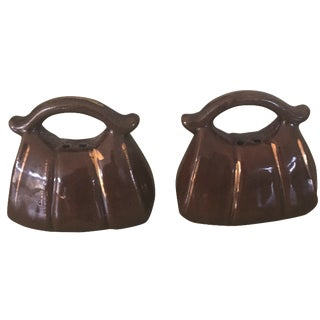 Brown Handbag Salt & Pepper Shakers - A Pair