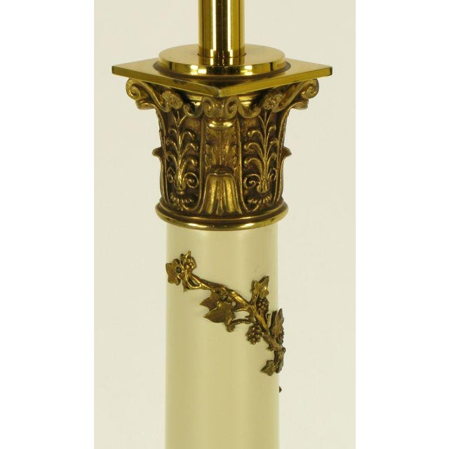Pair Stiffel Neoclassical Brass & Ivory lacquered Table Lamps. - Image 9 of 10