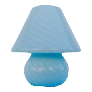 Italian Venini Murano Blue Vetri Mushroom Lamp
