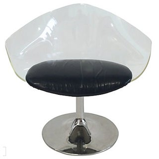 Mid-Century Lucite & Black Vinyl Chair