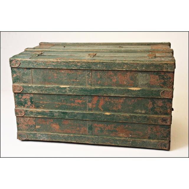 Vintage Industrial Green Wood Steamer Trunk - Image 10 of 11