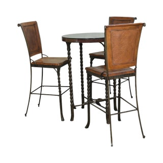 Iron & Hammered Copper Top Round High Top Pub Table w/ 3 Bar Stools