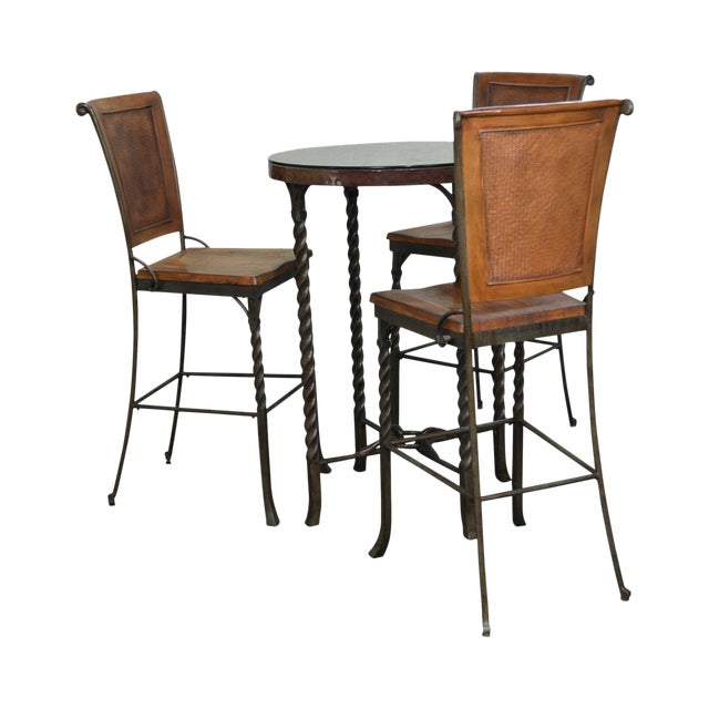 iron hammered copper top round high top pub table w 3 bar stools chairish. Black Bedroom Furniture Sets. Home Design Ideas
