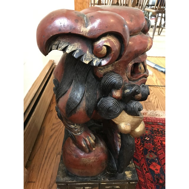 Pair of Carved and Painted Wooden Foo Dog Statues - Image 8 of 8