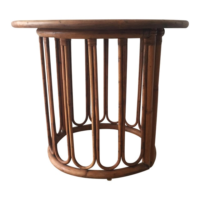 1960's Calif-Asian Rattan Side Table - Image 1 of 7