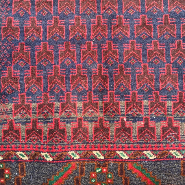 "Red Baluchi Persian Rug - 2'10"" x 4'4"" - Image 3 of 8"