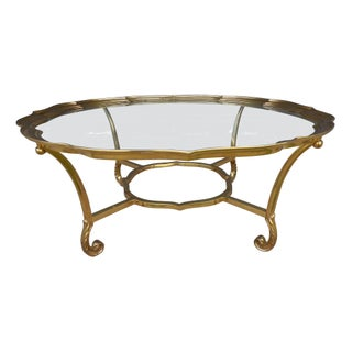 La Barge Brass Scalloped Cocktail Table