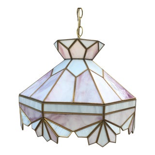 Vintage Tiffany Style Large Stained Glass Swag Hanging Light Fixture