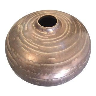 Vintage Copper Toned Ceramic Vase