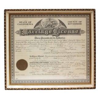 1925 Framed Marriage License