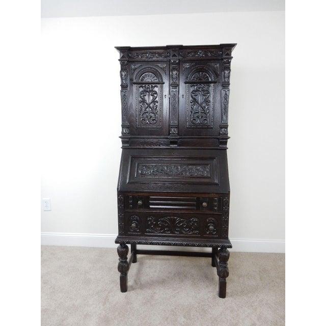 Antique Carved Solid Oak Jacobean Slant Front Desk - Image 9 of 11