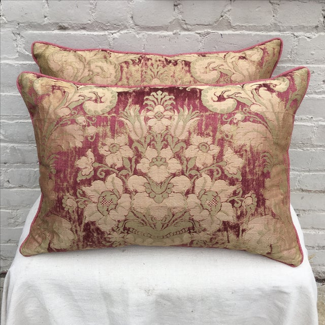 Custom Antique Textile Pillows - A Pair - Image 2 of 4