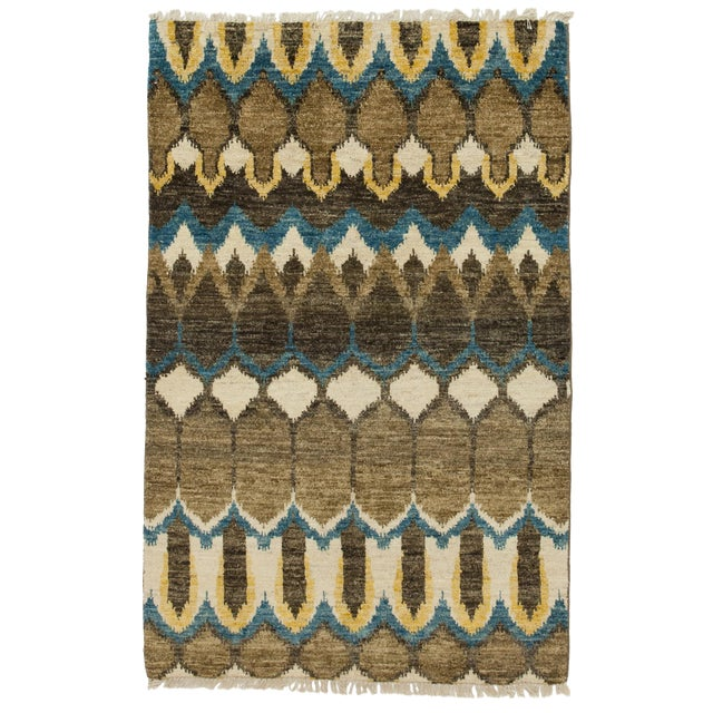 "New Ikat Hand Knotted Area Rug - 3'10"" x 6' - Image 1 of 3"