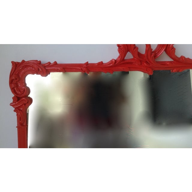 Image of Antique French Red Lacquered Mirror