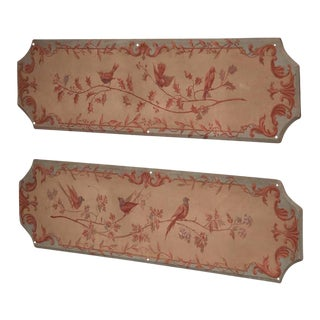 19th Century French Napoleon III Hand-Painted Wood Panels With Birds - A Pair