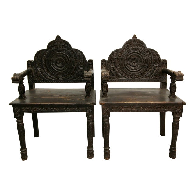 Antique Carved Wood Occasional Chairs - A Pair - Image 1 of 11