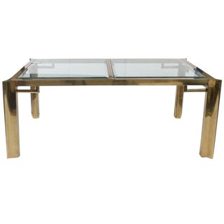 Mastercraft Polished Brass & Glass Dining Table