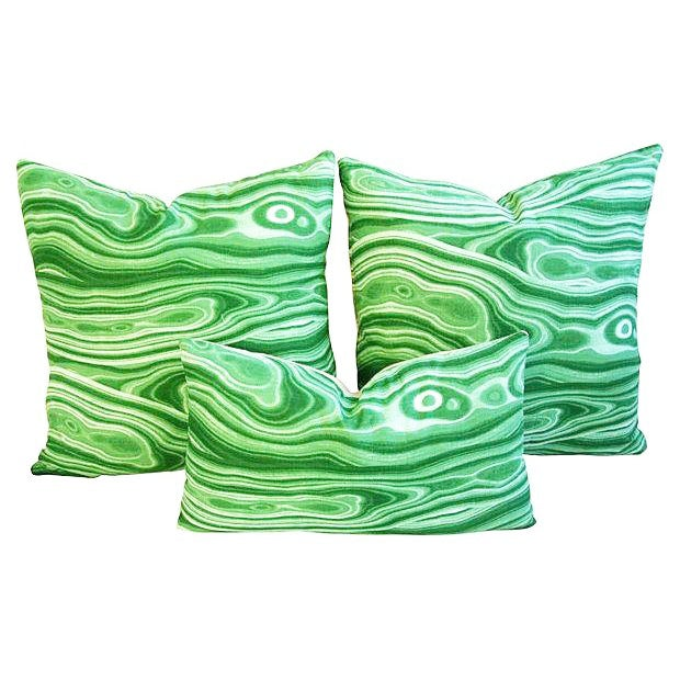 Custom Designer Emerald Malachite Pillows - Set 3 - Image 1 of 6