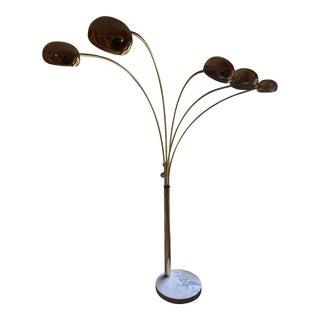 Italian 5-Arm Brass Arc Lamp With Marble Base