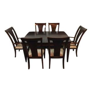 Contemporary Laminate Mahogany Dining Set - Set of 7