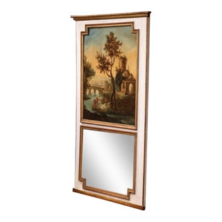 Large 18th Century French Painted Trumeau Mirror From Provence