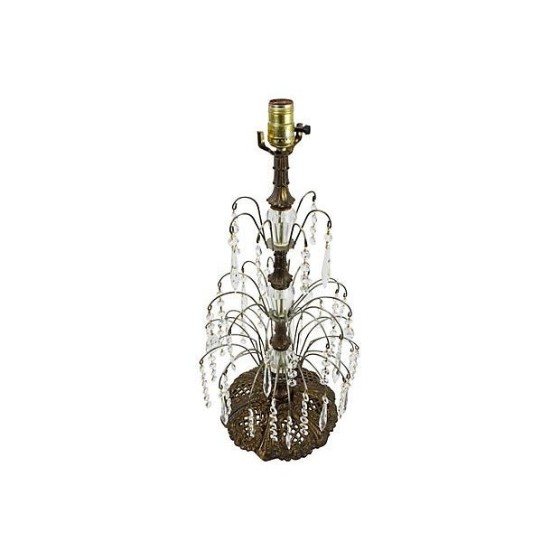 Gilded Metal & Leaded Crystal Table Lamp - Image 2 of 4