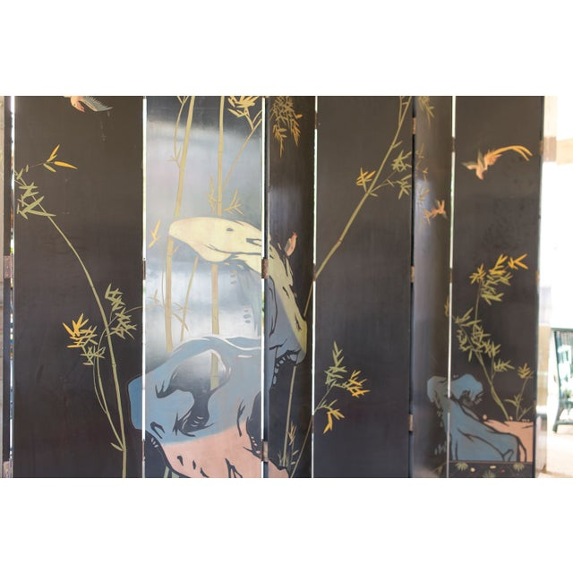 Large Lacquered Asian Screen - Image 7 of 8