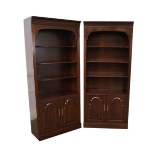 Ethan Allen Georgian Court Cherry Open Bookcases Cabinets - a Pair